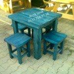 mavi tabure masa takımı
